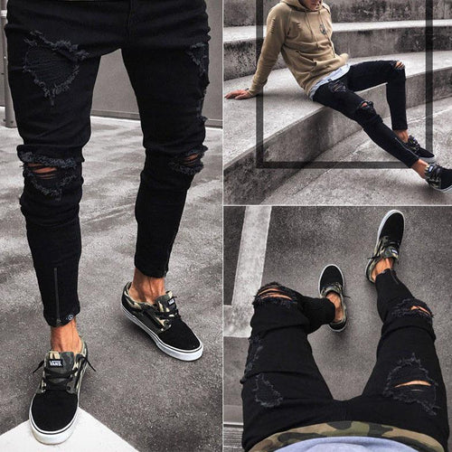 Slim Fit Stretch Ripped Distressed Zipper Skinny Jeans