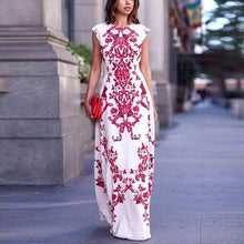 Load image into Gallery viewer, High Waist Slim Printed Maxi Dress