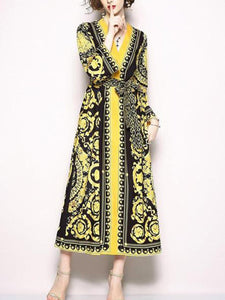 Retro V-Collar Court Print Leopard Lace Loose Dress