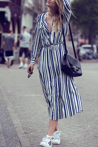 Vacation Casual Fashion Slim Strip Button V Collar Long Sleeve Shift Dress