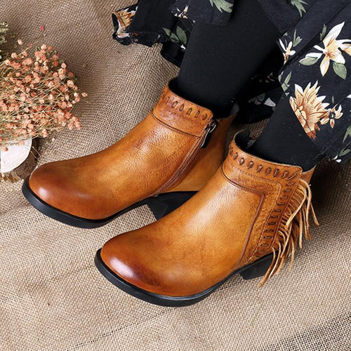 Vintage American Style Leather Women's Boots Fringed Denim Ankle Boots