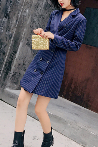 Elegant Chic Business Slim Strip Double-Breasted V Collar Long Sleeve Shift Dress