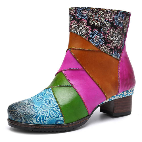 Leather Color Boots Patchwork Square High Heels Martin Booties