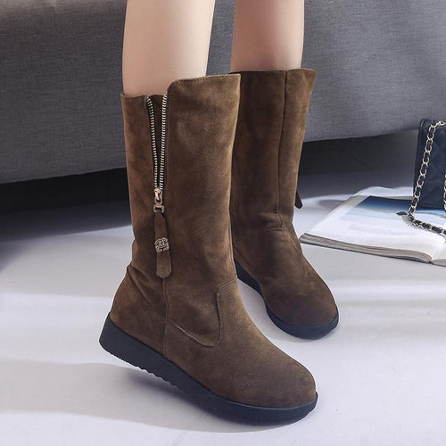 Fashion Suede Flat Boots