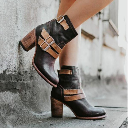 Fashion Coarse Heel Split Joint Short Boots