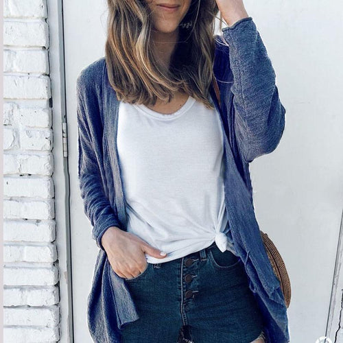 Solid Color With Loose Pocket   Cardigan