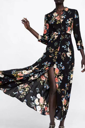 Fashion Lapel Floral Printed Slit Maxi Dress