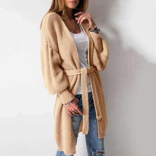 Solid Color Large Round Neck Long Sleeve Cardigan