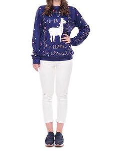 Christmas Day Cross-Border Supply Spot Cute Alpaca Print Hooded Sweater