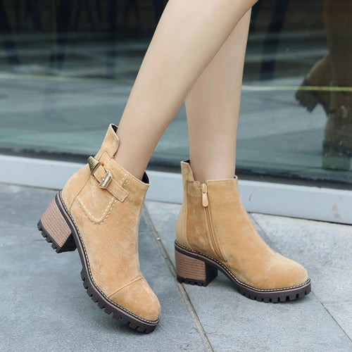 Fashion Suede Square High Heel Short Boots
