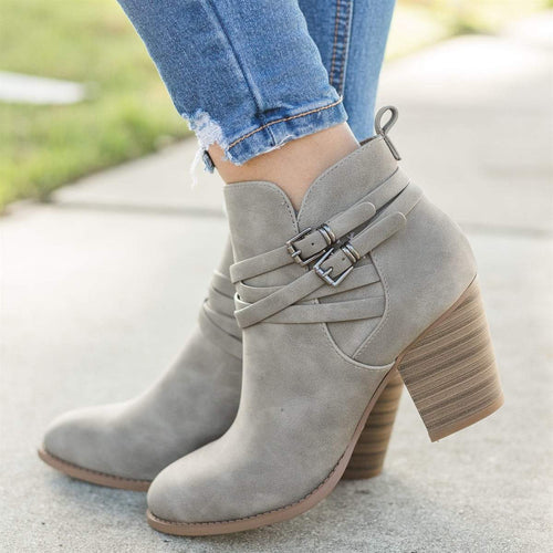 Fashion Coarse High Heel Short Boots