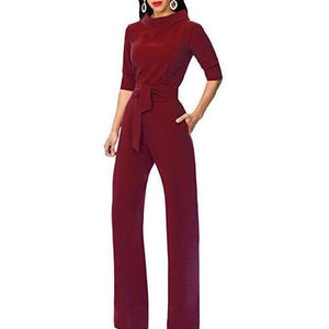 Pure Color Collars With Straight Tube Jumpsuits