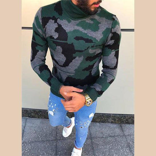 Camouflage Long Sleeve Men Sweater