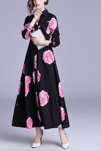 Fashion Lapel Collar Flower Printed Maxi Dress