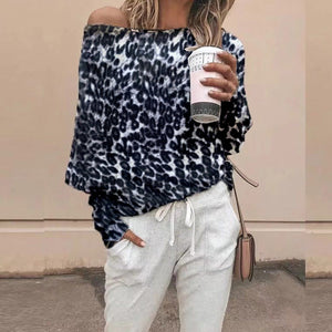 Off Shoulder Fashion Leopard Print T-Shirt