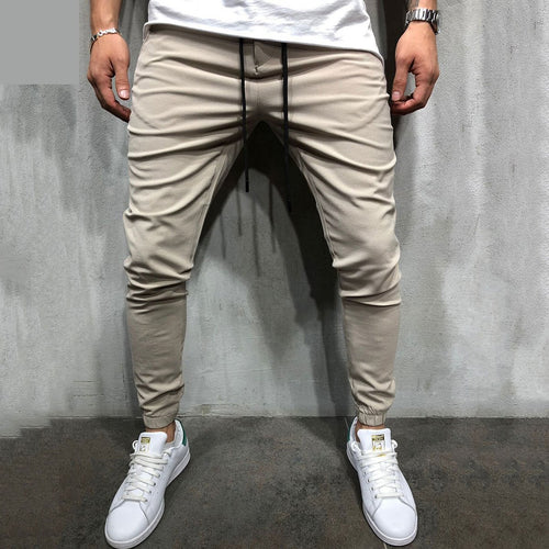 Men's Casual Plain Slim Elastic Waist Pencil Pants