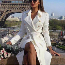 Load image into Gallery viewer, Sexy V Collar Wide Lapel Plain Slim Waisted Long Sleeves Wind Coat Dress