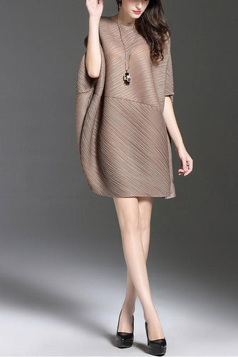 Casual Round Collar Plain Bat Wing Sleeve Loose Shift Dress