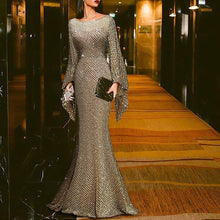 Load image into Gallery viewer, Elegant Silver Trumpet Sleeve Sexy Fishtail Evening Dress