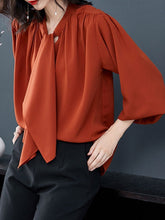 Load image into Gallery viewer, Autumn Spring  Women  Tie Collar  Plain  Long Sleeve Blouses