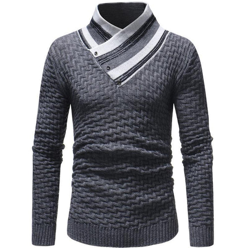 Fashion V Collar Rhombus Color Block Knitting Sweater