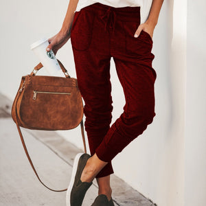 Fashion Elastic Strap Pure Colour Loose Casual Pants