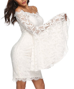 Sexy One Shoulder Horn Sleeve Lace Dress