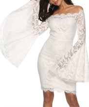Load image into Gallery viewer, Sexy One Shoulder Horn Sleeve Lace Dress