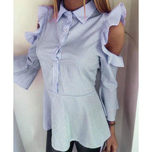 Load image into Gallery viewer, Fashion Turndown Collar Striped Ruffled Off-Shoulder Shirt