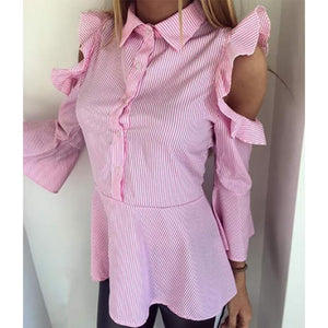 Fashion Turndown Collar Striped Ruffled Off-Shoulder Shirt
