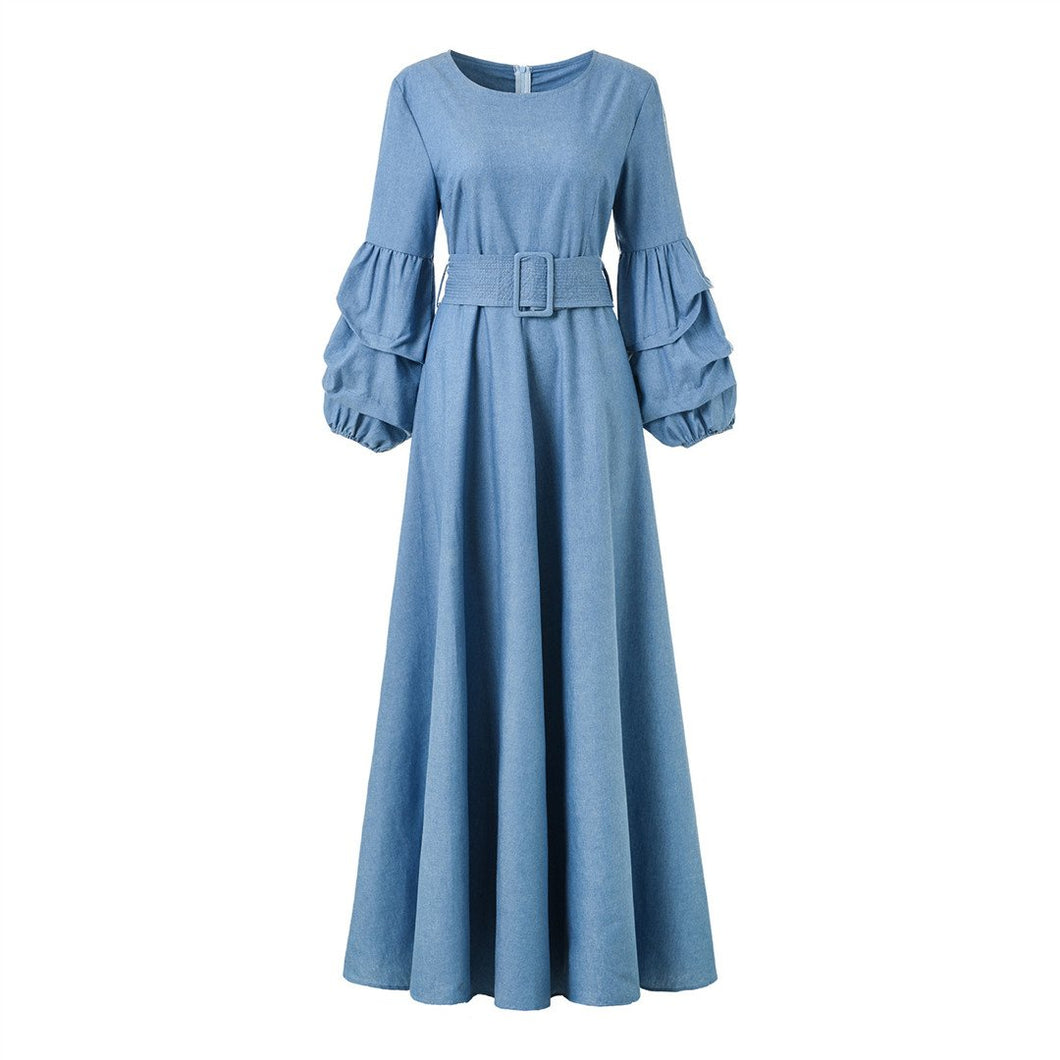 Fashion Hubble-Bubble Sleeve Belt Cowboy Dress
