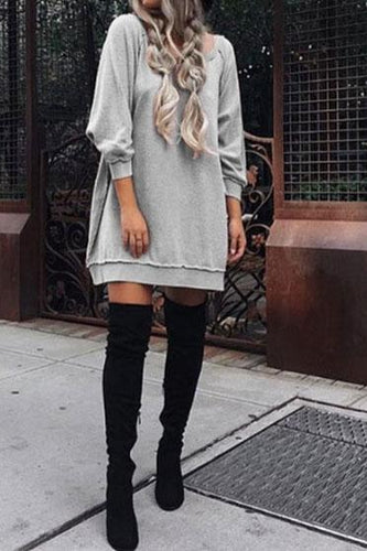 Casual Round Collar Plain Loose Knit Shift Dress