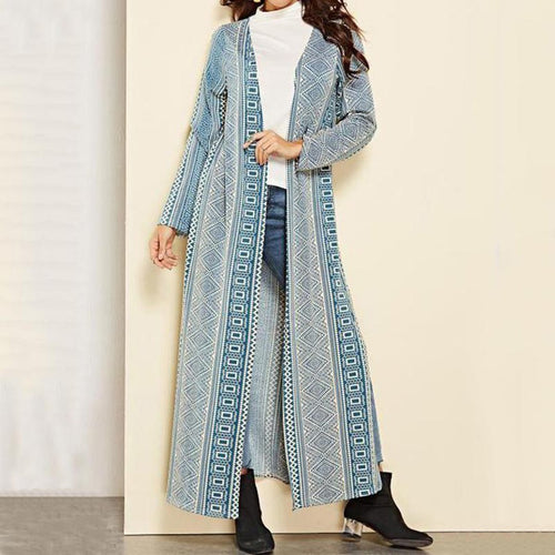 Vacation Casual Fashion Slim Strip Long Sleeve Long Cardigan
