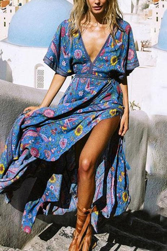 Sexy Deep V Collar Floral Printed Slit Vacation Dress