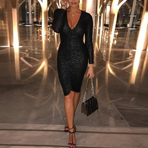 Deep V-Neck Sequined Long-Sleeved Slim Bodycon Dress