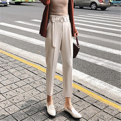 Casual High Waist Slim Straight Trousers Pencil Pants