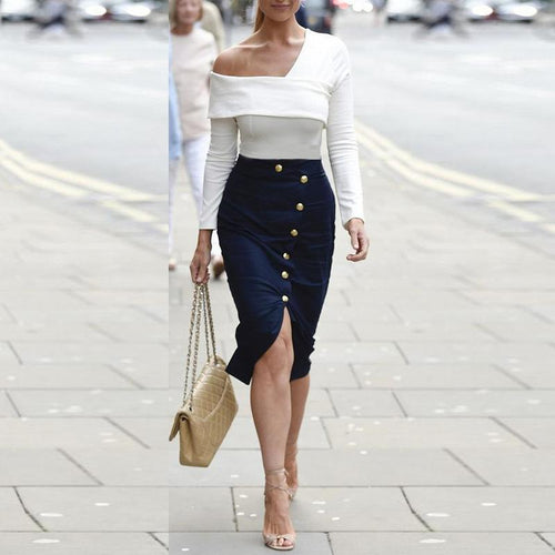Sexy Slim Plain Button Embellished Bodycon Skirt
