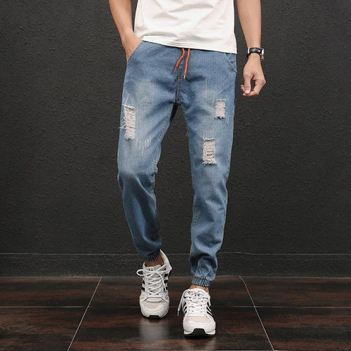 Men's Elastic Tattered Hole   Large Size Jeans