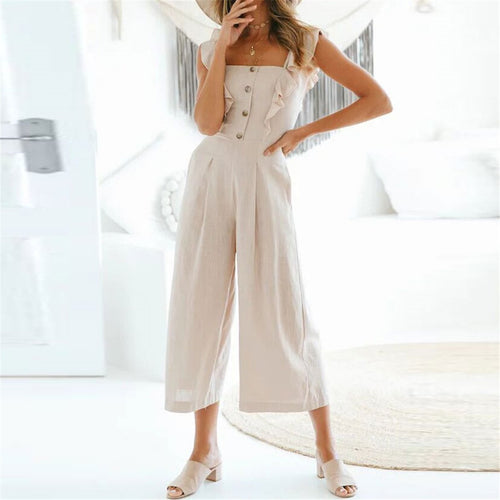 Sweet Plain Flouncing Slim Button Embellished Jumpsuit