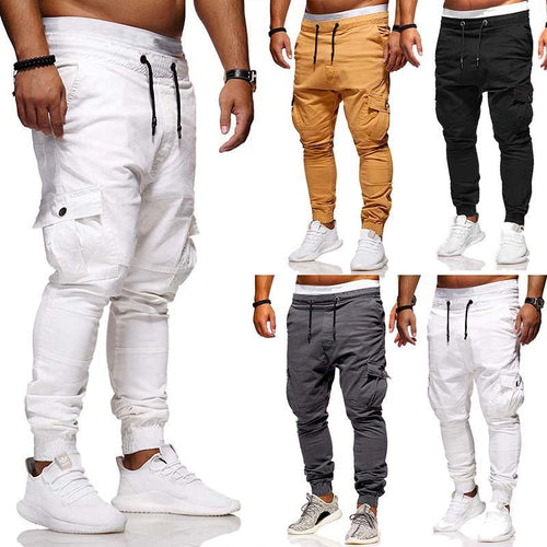 Casual Multi-Pocket Tether   Elastic Tooling Trousers