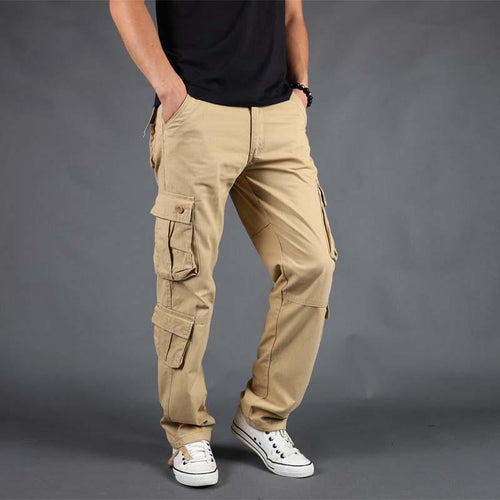 Multi-Pocket Large Size Cotton   Straight Trousers Military Pants