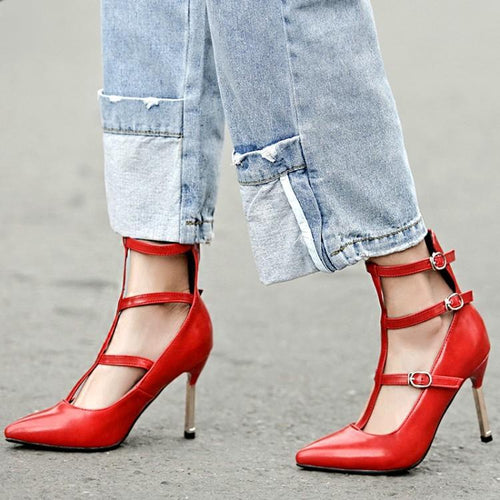 High-Heeled Buckle Sandals Fashion Shoes