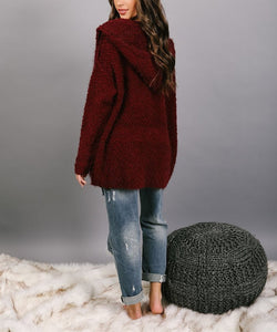 Fashion pure color hooded cardigan