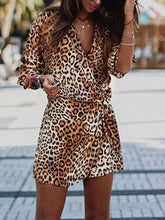 Load image into Gallery viewer, V Neck Long Sleeve Leopard Printed Belt Casual Dress