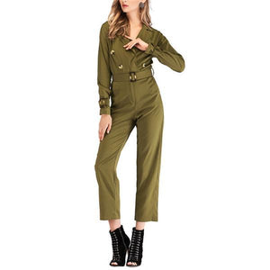 Fashionable Pure Color Lapel Casual Jumpsuit