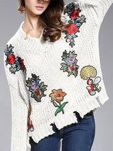 Load image into Gallery viewer, V-Neck Torn Flower Embroidery Sweater
