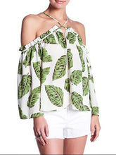 Load image into Gallery viewer, Sexy Cross Halter Leaf Printed Blouse