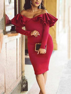 Sexy Plain Falbala Off Shoulder Long Sleeve Bodycon Dress