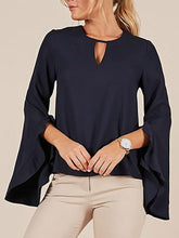 Load image into Gallery viewer, Stylish Long Sleeve Round Neck Plain T-Shirt