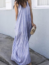 Load image into Gallery viewer, Sexy Blue Stripe Sleeveless Casual Dresses